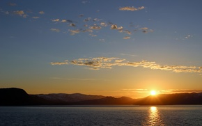 Picture sea, the sky, the sun, sunset, mountains, shore