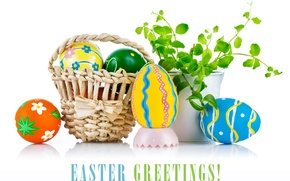 Picture eggs, Easter, basket, eggs