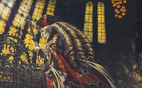 Picture cross, Cathedral, vampire, stained glass, witch, rod, Trinity Blood, Trinity blood, Fabrica Theologiae, by Shibamoto …