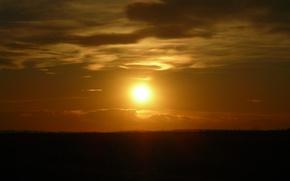 Wallpaper the sun, the steppe, sunset