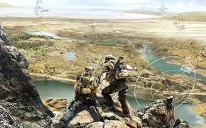 Picture weapons, soldiers, hologram, tactics, squad Ghost, Ghost Recon: Future Soldier, Tom Clancy's