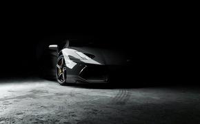Picture lamborghini, front view, aventador, lp700-4, Lamborghini, aventador, in the darkness