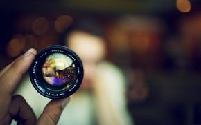 Picture Macro, Hand, Lens, Bokeh
