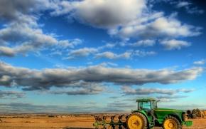 Wallpaper field, Clouds, tractor
