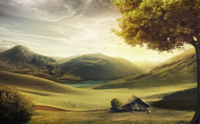 Picture mountains, house, tree, hills, figure, sheep, England, Danil Kartashev
