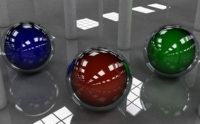 Picture blue, red, reflection, background, balls, green, sphere