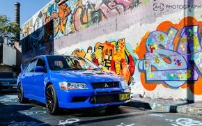 Picture blue, mitsubishi, Graffiti, lancer, evolution, evo, Lancer, Evo, Mitsubishi, JDM