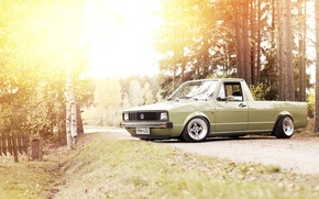 Picture road, the sun, lights, Volkswagen, wheel, the countryside, side, Caddy