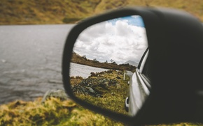 Picture road, machine, clouds, mountains, reflection, river, mirror, rear