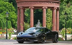 Picture reflection, black, lights, ferrari, Ferrari, black, columns, Italy, the front, 458 italia