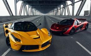 Picture McLaren, Ferrari, Red, Front, Bridge, Yellow, Road, Supercar, LaFerrari, Gipercar