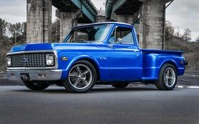 Picture chevrolet, blue, pickup, c10