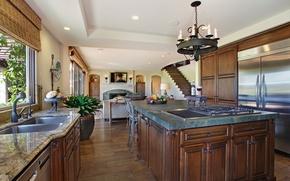 Picture design, photo, interior, kitchen, chandelier