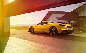 Picture car, yellow, track, Ferrari, Ferrari, yellow, Rosso, Novitec, 488 GTB