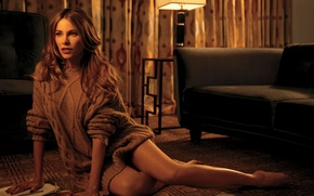 Picture glass, paper, sofa, model, actress, hairstyle, handle, photographer, lamp, curtains, sitting, on the floor, sweater, …
