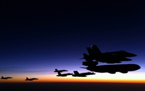 Picture Sunset, aircraft, soprovozdenie