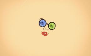 Wallpaper look, girl, face, minimalism, piercing, glasses, lips, vanilla