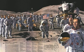 Wallpaper Moon, the astronauts, space, mission, The moon