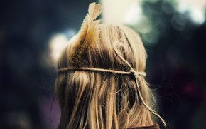 Picture girl, background, pen, mood, hair, feathers, blonde, full screen, HD wallpapers, Wallpaper for rabiega table