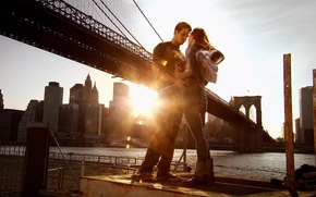 Wallpaper girl, the sun, bridge, guy, step up 3d, step forward 3D
