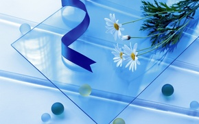 Wallpaper glass, flowers, blue, tape, blue, simple, balls, round, square, long