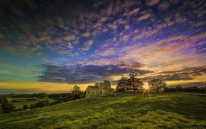 Wallpaper field, Church, the sky, grass, clouds, sunset
