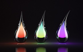 Picture color, reflection, three drops