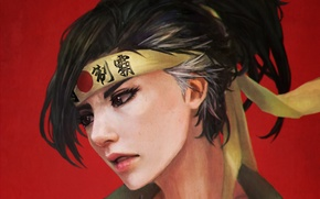 Picture girl, headband, fan art, casual, overwatch, hanzo