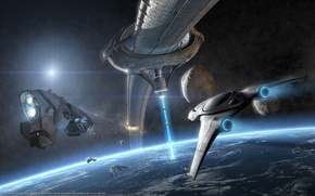 Picture background, planet, ships, orbit