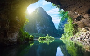 Picture nature, river, rocks, cliffs, Vietnam