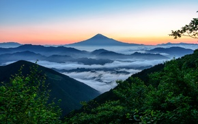 Picture the sky, clouds, snow, sunset, fog, blue, mountain, the volcano, Japan, top, sky, sunset, blue, …