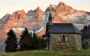 Picture autumn, snow, trees, mountains, dawn, Switzerland, Church, twilight