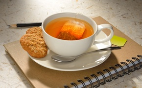 Picture tea, cookies, Notepad, pencil