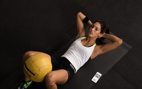 Picture brunette, workout, abs, crossfit, Tabata