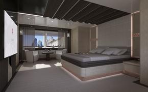 Picture design, style, interior, yacht, Suite, cabin, Interior, Columbus-Sport-130-Hybrid, Superyacht