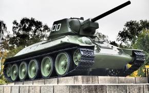 Wallpaper monument, Domestic, war, period, tank, T-34, average, Great