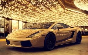 Picture yellow, lights, gold, golden, lamborghini, Vegas