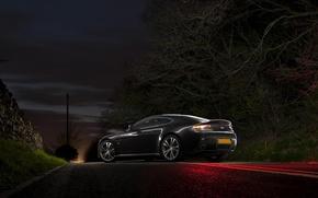 Picture Aston Martin, Vantage, Night, V12, Aston Martin, Road