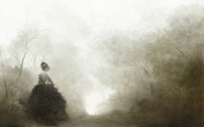 Picture road, trees, fog, loneliness, Girl, black, lady, Quinceanera dresses