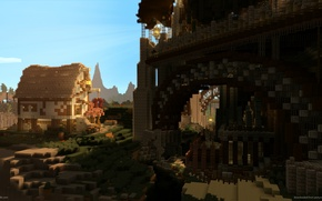 Picture the sky, grass, clouds, light, trees, flowers, mountains, house, open, fortress, Minecraft, cast no shadows