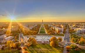 Picture the sun, landscape, sunset, panorama, Washington, USA, DC, The national Mall