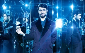 Wallpaper reflection, light, coat, Now You See Me 2, blue, card, mirror, scarf, Daniel Radcliffe, light ...