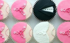Picture form, cream, cupcakes