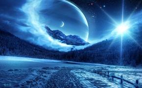 Wallpaper winter, forest, space, planet, QAuZ