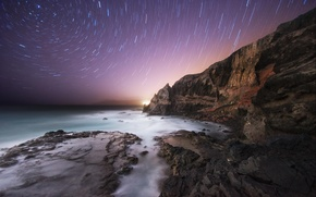 Picture sea, the sky, stars, night, rocks, shore