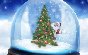 Wallpaper ball, new year, herringbone, snow, Santa Claus