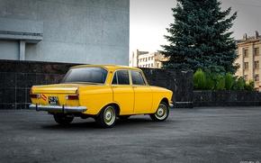 Picture yellow, car, 412, Muscovite, AZLK, Mosa