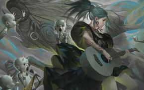 Picture girl, guitar, art, microphone, rock, demons