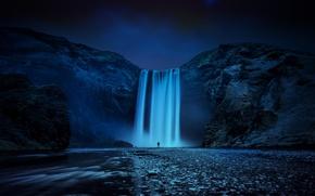 Picture night, nature, river, rocks, people, island, waterfall, stream, Iceland, Iceland, Skogafoss, Skogarfoss