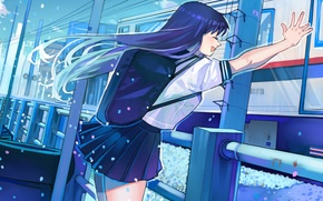 Picture the sky, girl, clouds, joy, train, anime, signs, art, form, schoolgirl, backpack, arutera